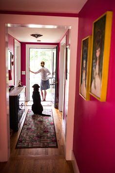 Another view of Carla's jewel-toned walls. (From Sneak Peek: Best of Pinks and Reds) bedrooms interior design de casas interior decorators Home Interior Design, Interior And Exterior, Interior Decorating, Pink Hallway, Chinoiserie Chic, Pink Walls, Magenta Walls, Pink Room, Loft