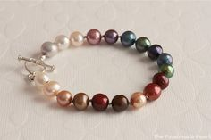 Rainbow Hand Knotted Freshwater Pearl Bracelet