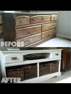 Dresser turned media stand.