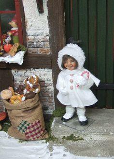 Snow child girl, orig 1/12th miniature doll by Silke Janas-Schloesser
