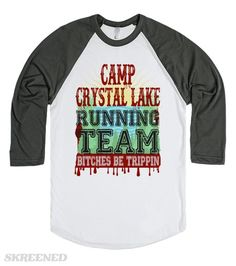 Halloween Running Team | Funny Camp Crystal Lake running team t-shirts, so you can get the hell out of Dodge this Halloween! Great for touring haunted houses and for all of your spooky parties this October 31st! #Skreened