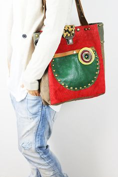 Leather Tote Bag Red Green Brown/ Red Leather by NeroliHandbags