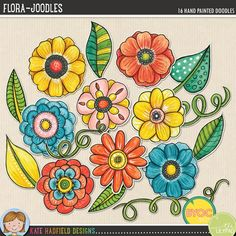 Flora Joodles - Mixed media digital scrapbooking elements / ideal for art journaling! Hand-drawn illustrations for digital scrapbooking, crafting and teaching resources from Kate Hadfield Designs! Click through to see projects created using these illustrations!