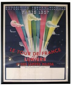 Rare French Art Deco Paris 1937 Exposition Internationale Poster by Magd Herest La Tour de France de la Lumiere