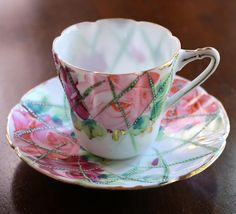 Mini Tea Cup and Saucer Vintage Demitasse Pink Roses