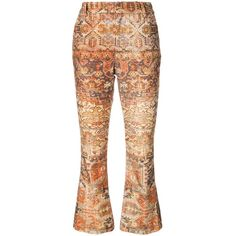 Frame Denim Gold Persian Flared Crop Pant ($208) ❤ liked on Polyvore featuring pants, capris, gold, patterned trousers, flared cropped pants, gold trousers, patterned pants and flare trousers