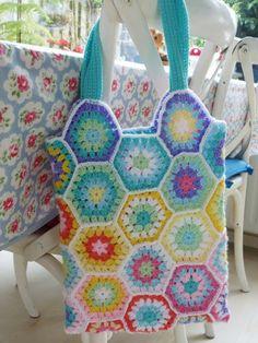 Granny hexagon crochet bag, gehaakte tas. Vakantieproject