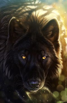 A lord wolf of the Forest. This should really be in a fantasy. Anime Wolf, Wolf Spirit, Spirit Animal, Beautiful Wolves, Animals Beautiful, Beautiful Artwork, Fantasy Wolf, Fantasy Art, Regard Animal