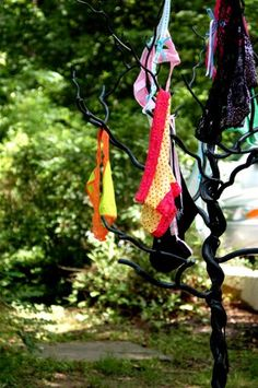 """Panty Tree"" game for lingerie shower or bachelorette party. Have each guest bring the bride one panty that reflects their personality or style. As guests arrive at the party, have them hang the panties on a tree. The bride picks panties off one at a time and has to guess who brought which pair."