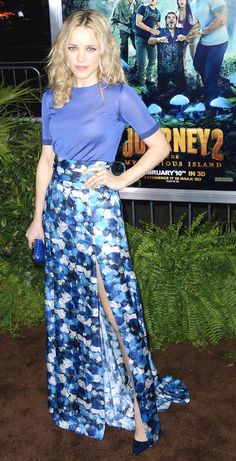 smitten with the casual t-shirt and dramatic printed skirt combo