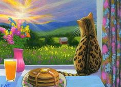 Bengal cat kitten sunrise breakfast pancakes window original aceo painting art #Realism Bridget Voth (Artist). Ebay ID star-filled-sky