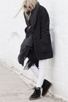 Winter Outfits: Figtny is wearing a slate grey cost from Asos with a pair of white trousers and Isabel Marant boots