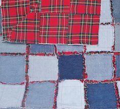 Denim Rag Quilt Frayed Denim Jean Quilt 64 x 49 Blue Denim Red