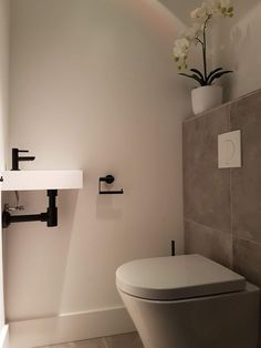 Toilet Room Decor, Small Toilet Room, Wet Room Bathroom, Basement Bathroom, Small Half Bathrooms, Small Bathroom, Wc Design, Modern Toilet, Downstairs Toilet