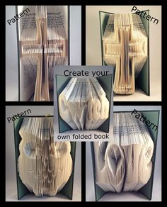 Book folding PATTERNS,cross owl cwtch love create your own folded book art