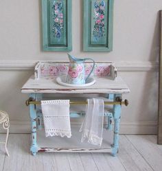 1:12th Scale Romantic Miniature Vanity table Blue Shabby