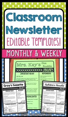Parent communication is so easy with these editable classroom newsletters! Just update the text, print, and go!