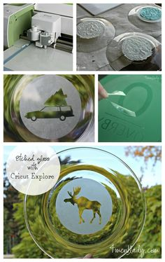 Personalize plates by etching them with your own design. Vinyl Crafts, Vinyl Projects, Craft Projects, Dremel Projects, Cricut Air, Cricut Vinyl, Cricut Cuttlebug, Cricut Tutorials, Cricut Ideas