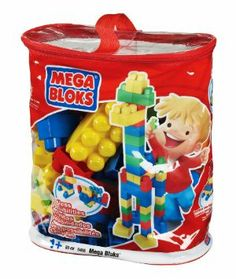 Megabloks 80pc Lrg Mega Bloks Bag by Megabloks. $33.90. Symbols to inform parents on the huge benefits of block play. Clinical research found that playing with blocks improves childrens language development by 15%, and reduces television watching by 80%. A sturdy bag for easy storage and carriage. From the Manufacturer                Play, store and take it with you wherever you go! The 80-piece MEGA Maxi Bloks Classic Bag includes 80 big  building blocks! It is the perfe...