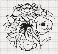 Filet Crochet Pattern - Winnie The Pooh Crazy Faces - Possible crochet blanket…