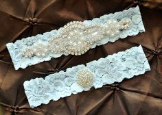 Wedding Garter Belt, Bridal Garter Set - Blue Lace Garter, Keepsake Garter, Toss Garter, Crystal Embellishment Blue, Something Blue Garter by HayesStreetBridal on Etsy https://www.etsy.com/listing/130973072/wedding-garter-belt-bridal-garter-set