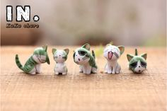 NEW Zakka home micro garden animals craft kawaii cute Cheese cats model Action Figure Toys DIY accessories ornaments props