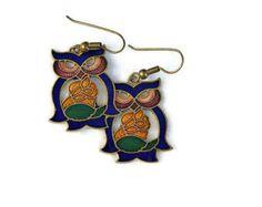 Owl earrings, vintage cloisonne pierced earrings by wrensnestvintage. Explore more products on http://wrensnestvintage.etsy.com