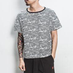 Men's wavy print T-shirt loose cotton top  #pants #loosepants #linendress #OnePiece #overalls #linen
