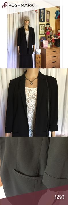 Express Blazer size 12 black 🎀 Black blazer size 12 by Express open front with cuffed sleeves and pockets 🎀 Please ask any questions always happy to answer 😊 Happy Poshing 😊💖🎀 Express Jackets & Coats Blazers