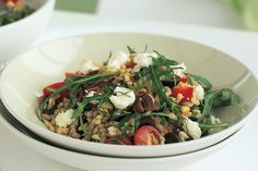 Barley Salad With Feta And Pine Nuts (vegetarian) by Taste. Pine nuts add a gourmet crunch to this sensational barley salad. Veggie Recipes, Whole Food Recipes, Salad Recipes, Vegetarian Recipes, Cooking Recipes, Healthy Recipes, Barley Recipes, Nut Recipes, Simple Recipes