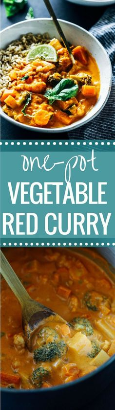 One-Pot Vegetable Thai Red Curry- a flavorful vegetarian meal that takes just 30 minutes to make! (vegan, gluten-free) (Vegan Recipes Crockpot)