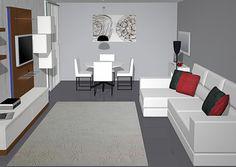 Podéis observar este salón comedor es muy alargado por eso hemos podido colocar todos estos muebles  ya que enfrente de la composición tenemos un amplio sofá de tres plazas con cheslong en color blanco, como gran parte de la decoración de este salón comedor,  encima del sofá tenemos varios cojines muy mullidos en color gris y en color rojo dándole así una nota de color al sofá, también tenemos una alfombra de Nanimarquina