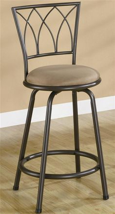 24 in. Metal Counter Stool w Upholstered Seat - Set of 2