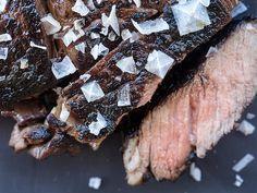 sliced pan seared steak with umami sea salt as an accent.
