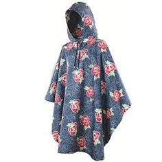 Womens Rose Waterproof Poncho