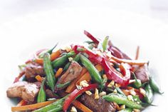 STIR FRY RECIPES USING FROZEN VEGETABLES (above:)  Pork Stir-Fry with Green Beans and Peanuts