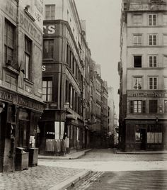 Charles Marville: The Streets of Old Paris Before Haussmann: Carrefour Streets of Bûcherie du Petit Pont and Huchette Old Pictures, Old Photos, Rue Montorgueil, Musee Carnavalet, Types Of Architecture, Heart Of Europe, Old Paris, Paris Ville, French Photographers