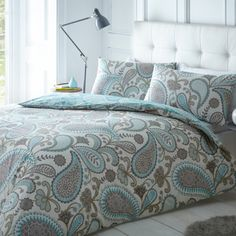 Ideal Bedding | Duvet Covers| Bedsheets | Pillowcase Pieridae Paisley Duvet Quilt Bedding Cover and Pillowcase Teal Bedding Set