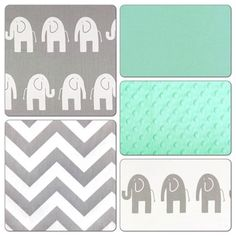 Crib Bedding Set Gray Mint Green Elephant Deposit Crib Bedding Mint Green Nursery Bedding Mint Green Nursery Bedding