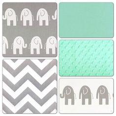 Crib Bedding Set Gray Mint Green Elephant Deposit Crib Bedding Mint Green Nursery Bedding Mint Green Nursery Bedding