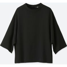 UNIQLO Women's Drape Mockneck 3/4 Sleeve Blouse ($30) ❤ liked on Polyvore featuring tops, blouses, black, evening blouses, drapey tops, 3/4 sleeve tops, 3/4 sleeve blouse and 3/4 length sleeve blouse
