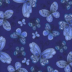 Blue Butterfly Fabric by Quilterland on Etsy, $2.61