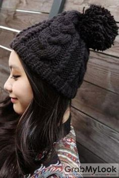 Thick Knitted Beanie Hat with Big Pom Thick Knitted Beanie Hat with Big Pom   ASS 699efe44015