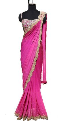 Scallop Border Magenta Saree - Indian Designers - Indian Bridal Sarees - Indian Style - Silver Saree with Corset Blouse Tied-up Back - Elegance Squires Squires Squires Munoz Shukla Shukla Shukla Saxena Patel Patel Patel S Patel issues issues Wilke Brown Indian Attire, Indian Ethnic Wear, Indian Style, Indian Dresses, Indian Outfits, Collection Eid, Indian Bridal Sarees, Bridal Sari, Desi Clothes