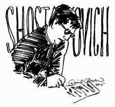 ink drawing of composer, D. Shostakovich by David Borden, (c) 2015