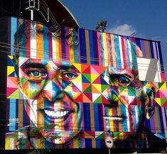 Eduardo  KOBRA  grafita rostos de chico buarque e ariano suassuna em Sāo PAULO