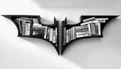 Are you a batman's lover? The Dark Knight Bookshelves may be a good addition to your home furnishings. It would probably be the most bat-tastic thing in your batman collection. Batman Bookshelf, Batman Dark Knight, Dvd Regal, Book Safe, 3d Laser, Cool Gadgets, Game Room, My Dream Home, Cool Stuff