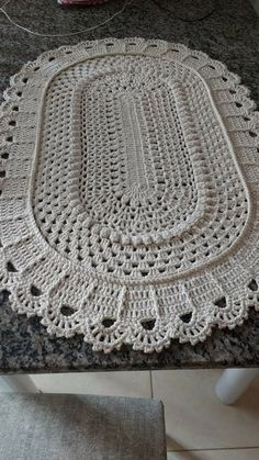 Large oval crochet doily Cream and beige cotton doily Textured doily Table centerpiece Anniversary gift Housewarming gift Mother's Day gift Crochet Round, Filet Crochet, Crochet Motif, Easy Crochet, Tapete Doily, Doily Rug, Crochet Stitches Patterns, Doily Patterns, Crochet Baby Jacket