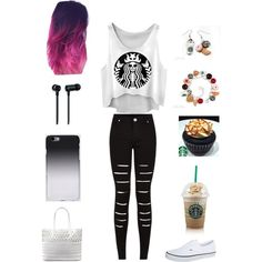 Starbucks inspired lol by cutiepie92343 on Polyvore featuring polyvore fashion style Master & Dynamic Vans DKNY C6