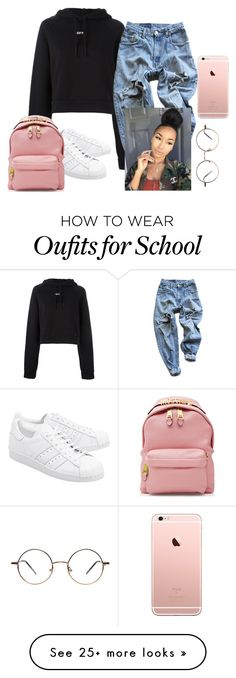 """""""Bored at school"""" by aerielle24 on Polyvore featuring Off-White, Levi's, adidas Originals and Moschino"""